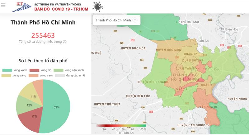 Bản đồ Covid-19 tại TP.HCM được phân vùng theo số liệu theo tổ dân phố