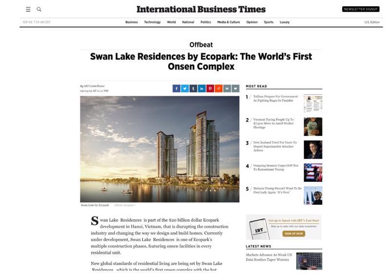 Ecopark xuất hiện trên tờ International Bussiness Times 200 năm tuổi danh giá tại Mỹ.