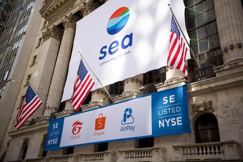 Cổ phiếu Sea hiện giao dịch trên sàn chứng khoán New York (Mỹ) - Ảnh: Reuters