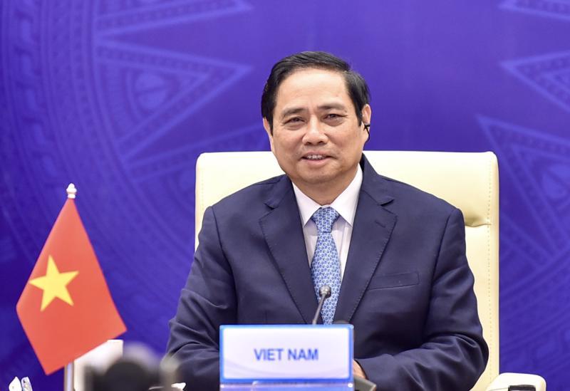 Thủ tướng Phạm Minh Chính tham dự Hội nghị Thượng đỉnh Hợp tác Tiểu vùng Mekong mở rộng (GMS) lần thứ 7 theo hình thức trực tuyến. Ảnh: VGP/Đoàn Bắc.