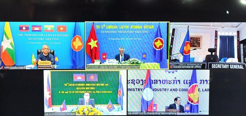Hội nghị Bộ trưởng Kinh tế các nước CLMV diễn ra theo hình thức trực tuyến.