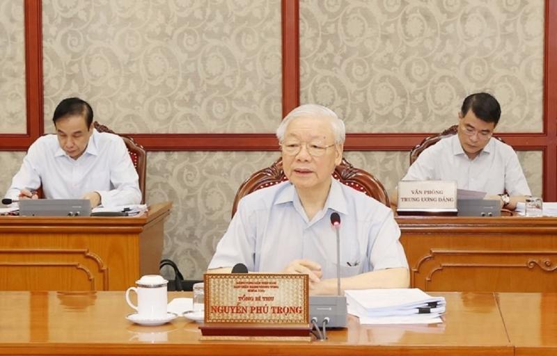 Tổng Bí thư Nguyễn Phú Trọng chủ trì cuộc họp (Ảnh:TTXVN)