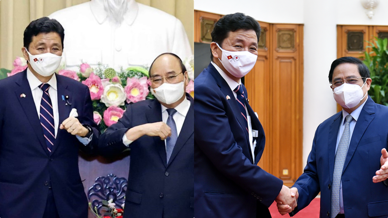 Chủ tịch nước Nguyễn Xuân Phúc và Thủ tướng Chính phủ Phạm Minh Chính tiếp Bộ trưởng Quốc phòng Nhật Bản - Ảnh: VGP
