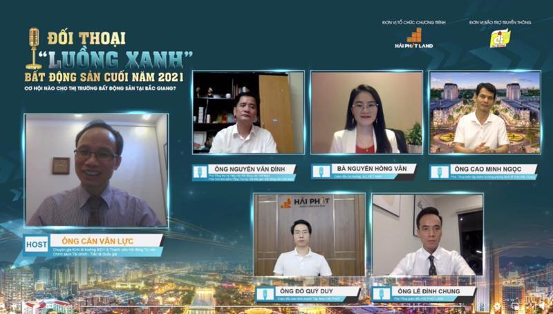 """Chương trình Đối thoại """"luồng xanh"""" bất động sản cuối năm 2021 do Hải Phát Land phối hợp cùng Báo Bắc Giang tổ chức, quy tụ những chuyên gia uy tín từ nhiều lĩnh vực."""