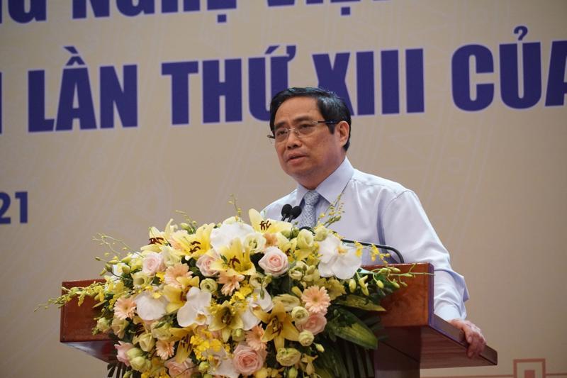 Thủ tướng Phạm Minh Chính phát biểu tại hội nghị - Ảnh: VUSTA