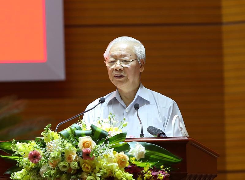Tổng Bí thư Nguyễn Phú Trọng phát biểu tại hội nghị - Ảnh: VGP