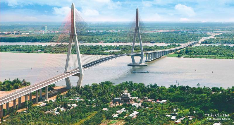 Cầu Cần Thơ trên Quốc lộ 1 bắc qua sông Hậu, nối TP. Cần Thơ và tỉnh Vĩnh Long.