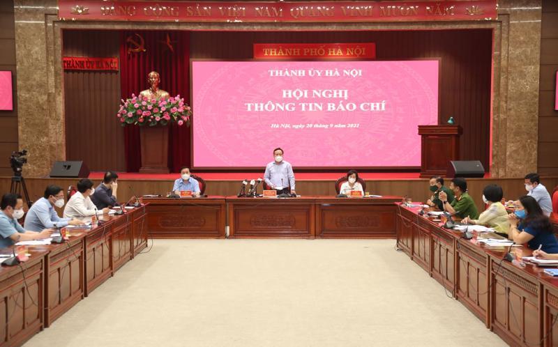 Thành phố Hà Nội họp báo thông tin về công tác phòng, chống dịch Covid-19.