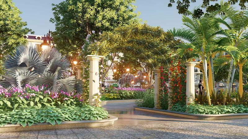 Hệ thống tiện ích, cảnh quan sân vườn ngay trong nội khu dự án.