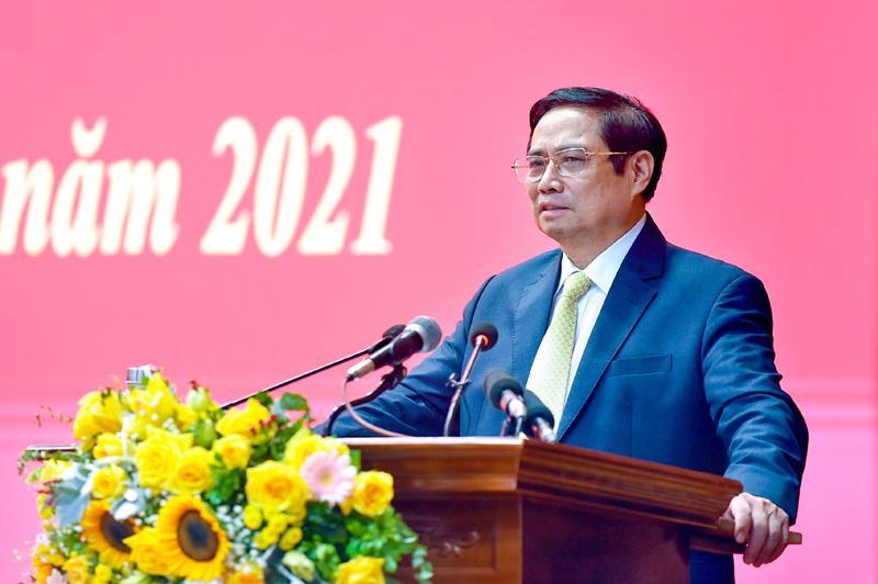 Thủ tướng Phạm Minh Chính phát biểu tại lễ khai giảng năm học 2021-2022 của Học viện Quốc phòng - Ảnh: VGP