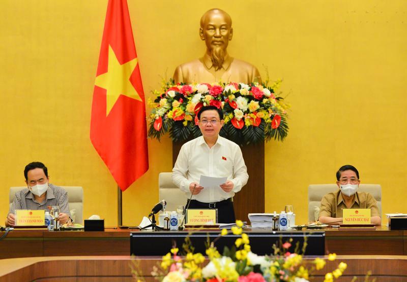 Chủ tịch Quốc hội Vương Đình Huệ phát biểu tại buổi làm việc - Ảnh: Quochoi.vn