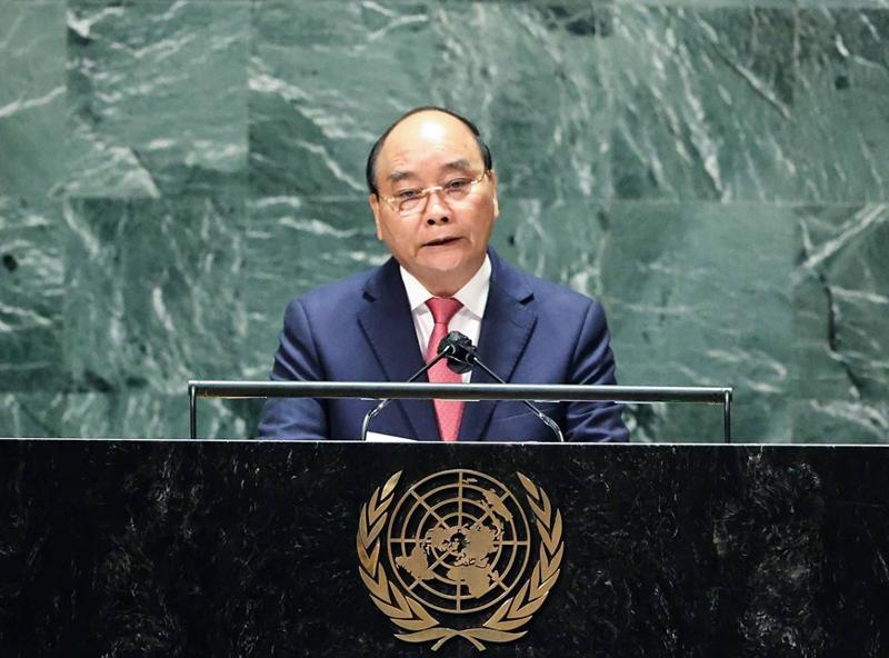 Chủ tịch nước phát biểu tại Phiên thảo luận chung cấp cao Đại hội đồng Liên hợp quốc khóa 76 - Ảnh: TTXVN