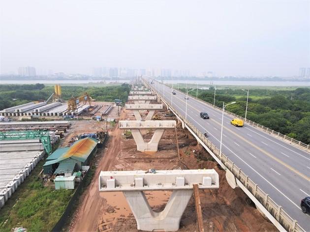 Toàn cảnh dự án cầu Vĩnh Tuy giai đoạn 2 nhìn từ phía Long Biên.