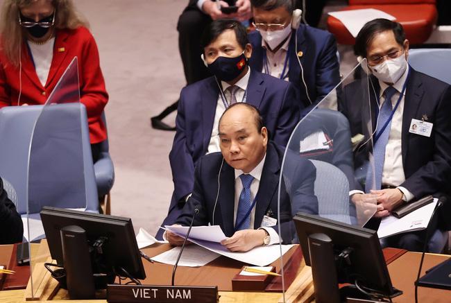 Chủ tịch nước Nguyễn Xuân Phúc tại phiên thảo luận cấp cao của Hội đồng Bảo an về biến đổi khí hậu. Ảnh: TTXVN.