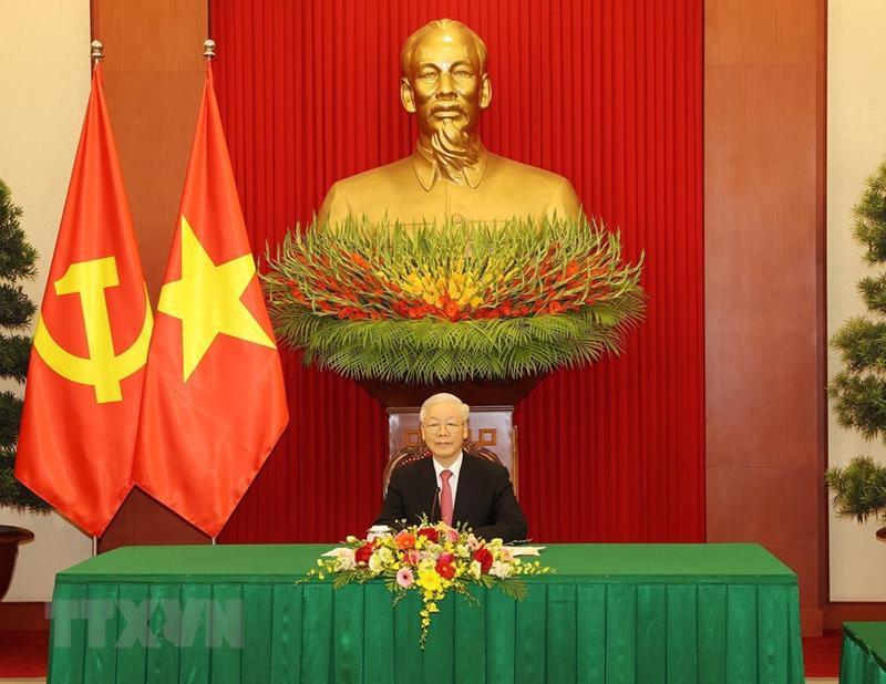 Tổng Bí thư Nguyễn Phú Trọng điện đàm với Tổng Bí thư, Chủ tịch nước Trung Quốc Tập Cận Bình - Ảnh: TTXVN
