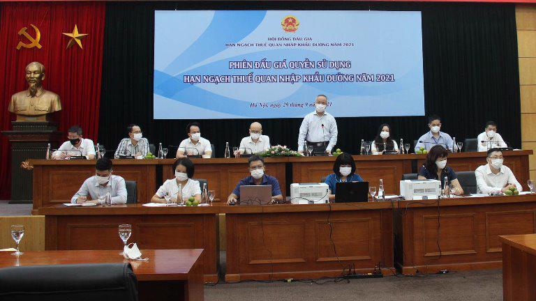 Thứ trưởng Trần Quốc Khánh - Chủ tịch Hội đồng đấu giá quyền sử dụng HNTQ nhập khẩu đường năm 2021 phát biểu khai mạc.