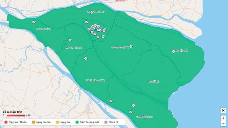 """Trên bản đồ Covid-19, tỉnh Bến Tre đã phủ sắc xanh (vùng an toàn) và đã trở lại trạng thái """"bình thường mới""""."""
