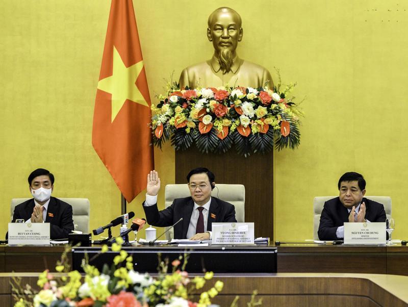 Chủ tịch Quốc hội Vương Đình Huệ chủ trì buổi làm việc - Ảnh: Quochoi.vn