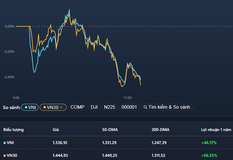 VN-Index và VN30-Index đồng điệu giảm trong sáng nay.