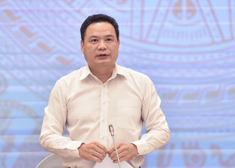 Thứ trưởng Bộ Lao động - Thương binh và Xã hội Lê Văn Thanh tại họp báo - Ảnh: TTXVN