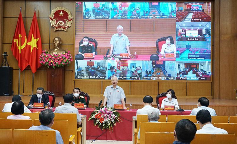 Tổng Bí thư Nguyễn Phú Trọng tại buổi tiếp xúc cử tri ở Hà Nội sáng nay - Ảnh: Quochoi.vn