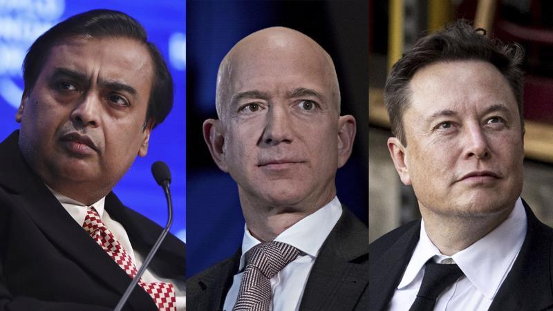 Từ trái qua: Mukesh Ambani, Jeff Bezos và Elon Musk - Ảnh: Bloomberg.
