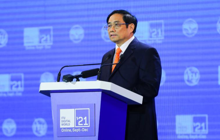 Thủ tướng Chính phủ Phạm Minh Chính phát biểu khai mạc sự kiện ITU Digital World 2021.