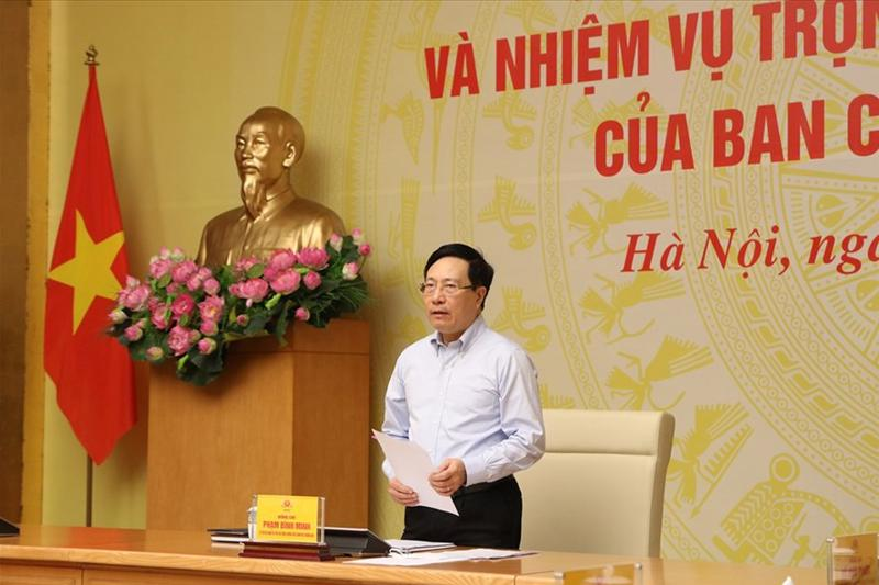 Phó Thủ tướng Thường trực Chính phủ Phạm Bình Minh - Trưởng Ban Chỉ đạo 389 Quốc gia phát biểu tại hội nghị.