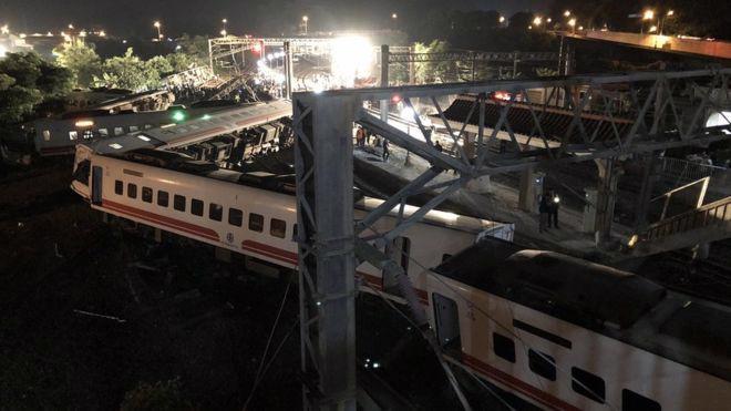 18 người thiệt mạng trong vụ tàu trật bánh ở Đài Loan - Ảnh 1.