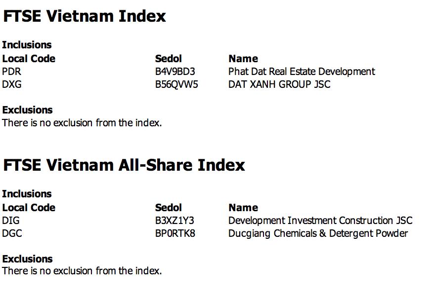 DXG và PDR được thêm vào FTSE Vietnam Index - Ảnh 1.