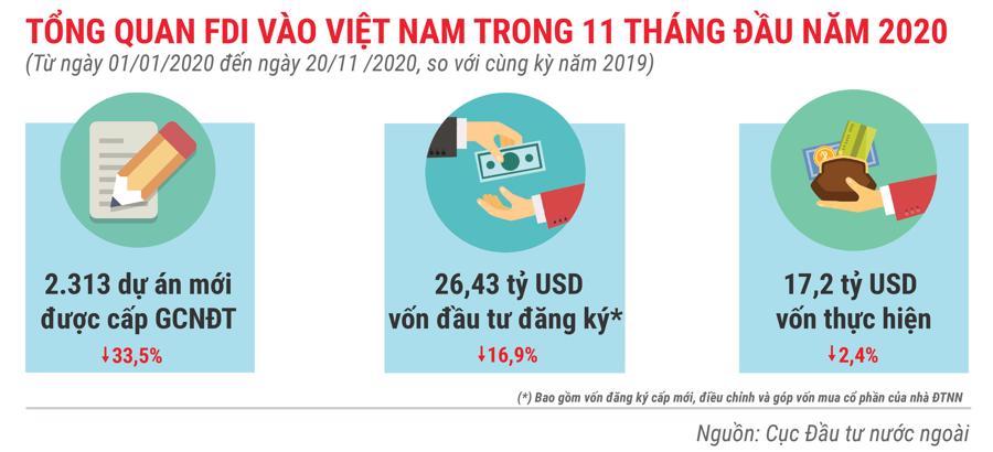 Những điểm nhấn về thu hút FDI trong 11 tháng năm 2020 - Ảnh 1.