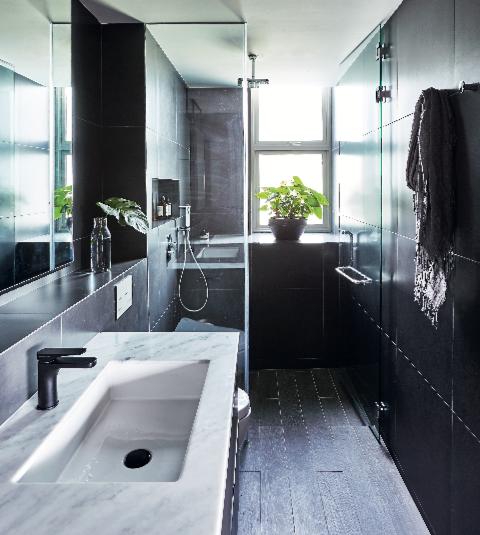Bí quyết để có một phòng tắm màu đen ấn tượng - Ảnh 1.