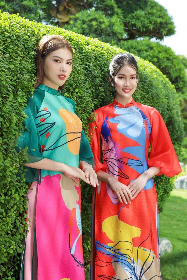 Chọn áo dài Tết cùng hai nàng Á hậu Phương Anh, Ngọc Thảo - Ảnh 1.