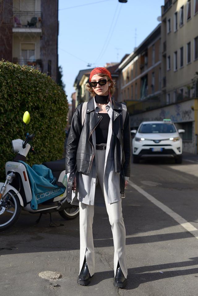 Trang phục đường phố đẹp nhất Milan Fashion Week: áo khoác da phủ sóng - Ảnh 12.