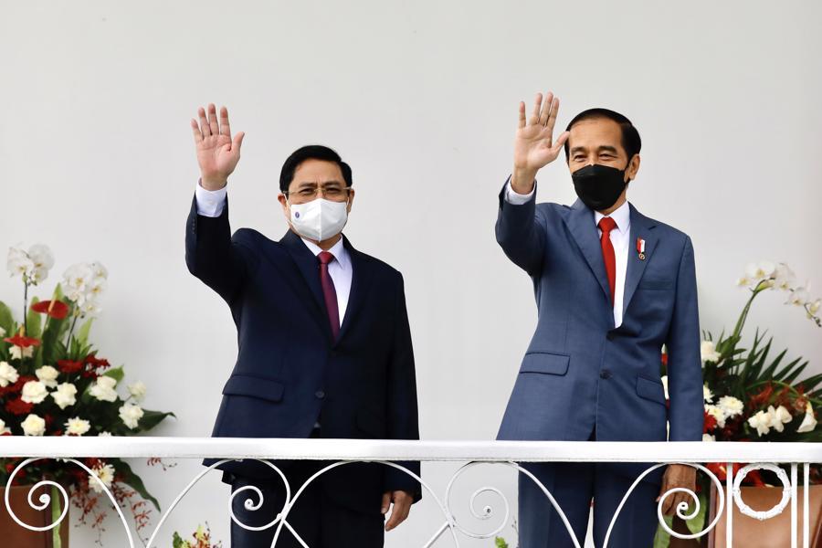 Cuộc gặp diễn ra trước khi Thủ tướng tham dự Hội nghị các nhà lãnh đạo ASEAN dự kiến diễn ra vào ngày 24/4.Đây là chuyến công tác nước ngoài đầu tiên của Thủ tướng Phạm Minh Chính kể từ khi được bầu làm Thủ tướng Chính phủ tại kỳ họp thứ 11 của Quốc hội vừa qua- Ảnh: VGP