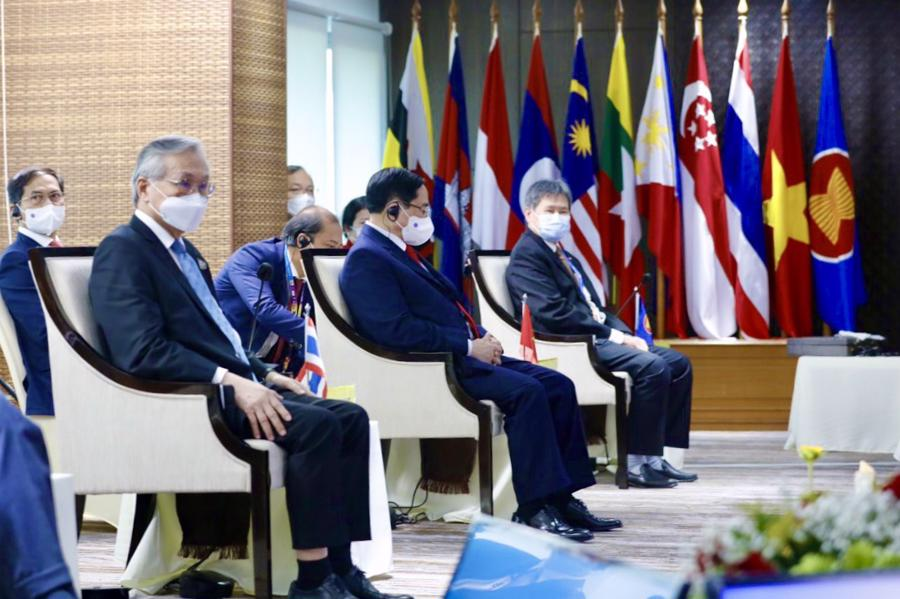 Hội nghị ASEAN trực tiếp đầu tiên được tổ chức sau 18 tháng do dịch bệnh Covid-19 - Ảnh: VGP