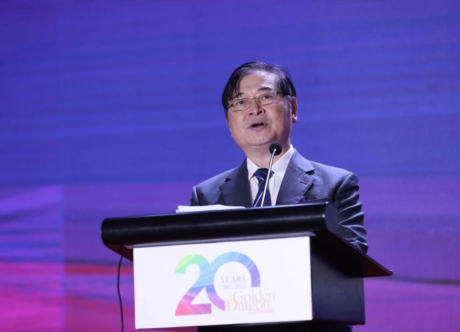 TSKH. Phan Xuân Dũng, Chủ tịch Liên Hiệp các Hội Khoa học Kỹ thuật Việt Nam phát biểu chào mừng tại Gala 20 nămchương trình Rồng Vàng