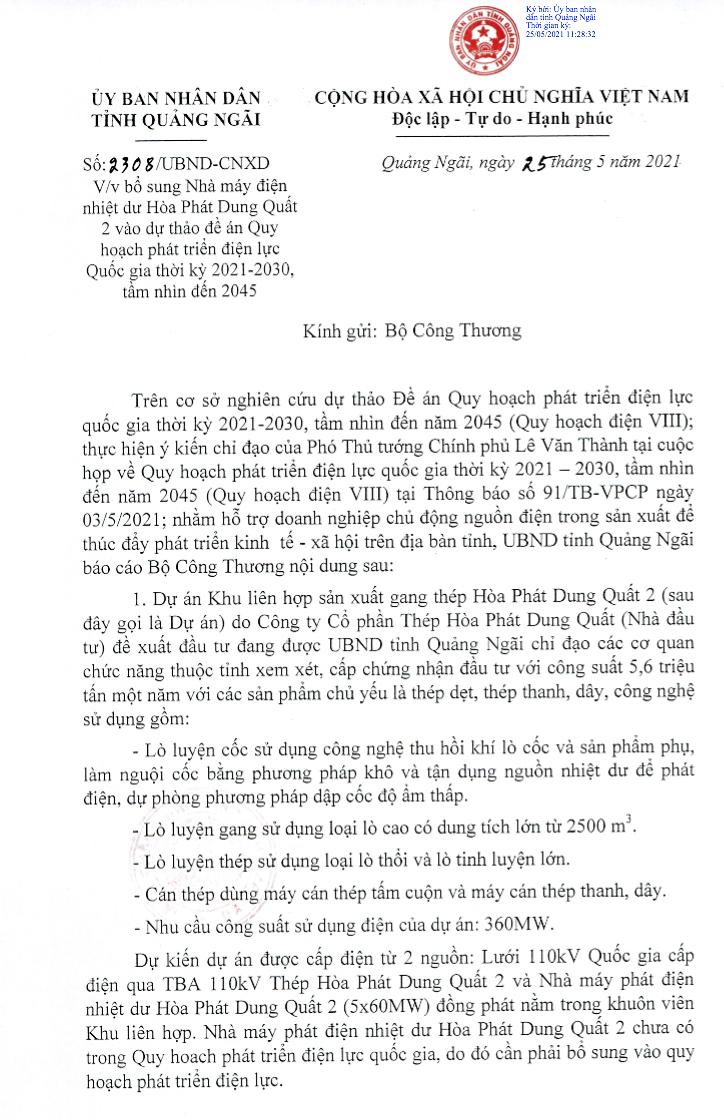 Đề xuất của UBND tỉnh Quảng Ngãi về việc bổ sung Nhà máy điện nhiệt dư Hoà Phát Dung Quất 2 vào dự thảo Quy hoạch điện VIII. - Nguồn: UBND tỉnh Quảng Ngãi.