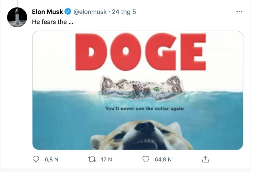 Đăng tải liên quan tới Dogecoin của Elon Musk mới đây - Ảnh: Twitter