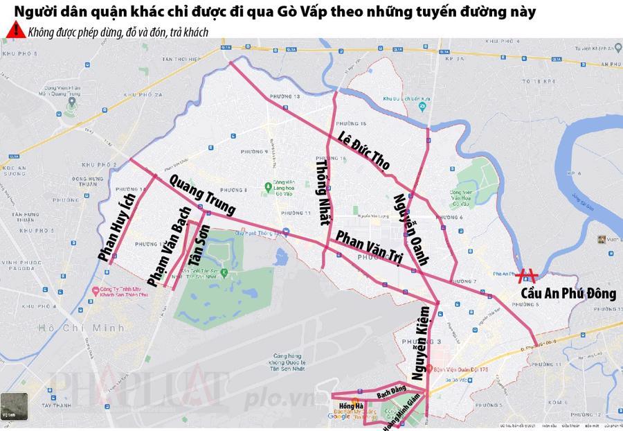 Bản đồ hướng dẫn các tuyến đường được di chuyển qua quận Gò Vấp.