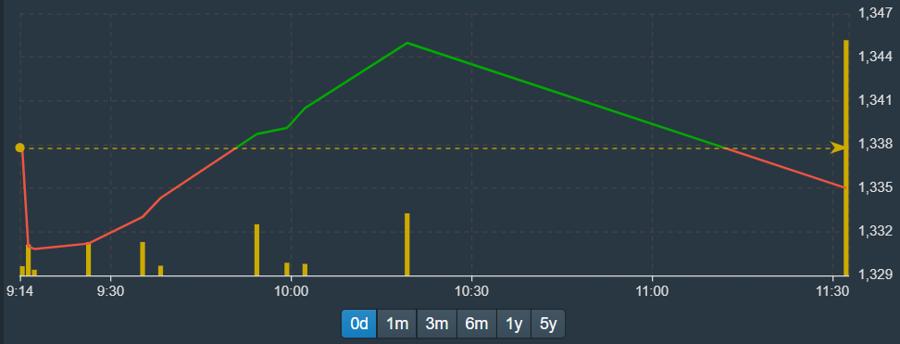 Đồ thị dị dạng của VN-Index sáng nay do không có số liệu liên tục cập nhật.