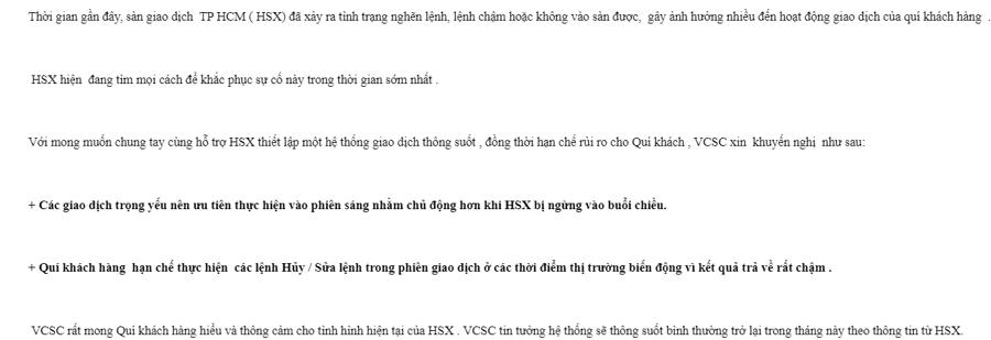 Thư khuyến cáo khách hàng của VCSC.