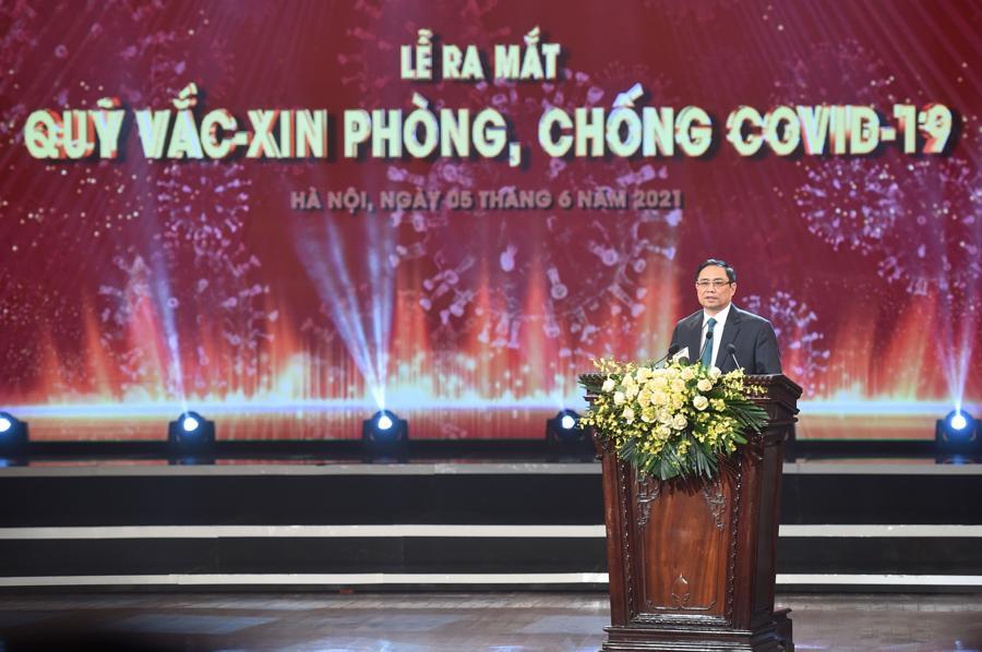 Thủ tướng Chính phủ Phạm Minh Chính phát biểu tại Lễ ra mắt Quỹ vaccine phòng , chống Covidd-19.