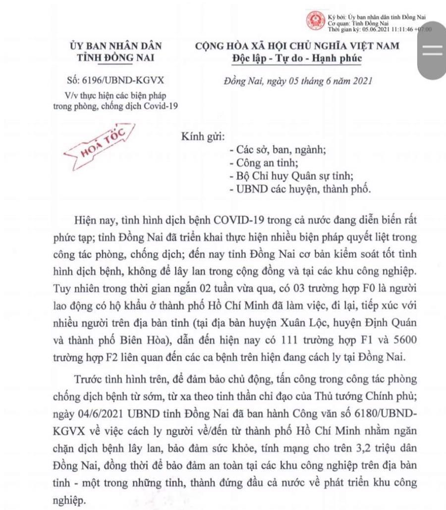 Công văn ngày 5/6 của Ủy ban nhân dân tỉnh Đồng Nai đã nới lỏng hơn quy định đi lại giữa TP.HCM và Đồng Nai.