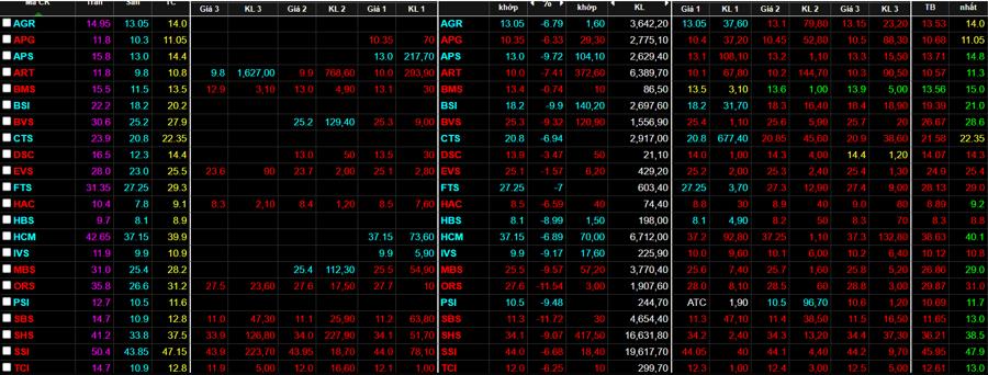 Nhóm cổ phiếu chứng khoán sàn cả loạt.