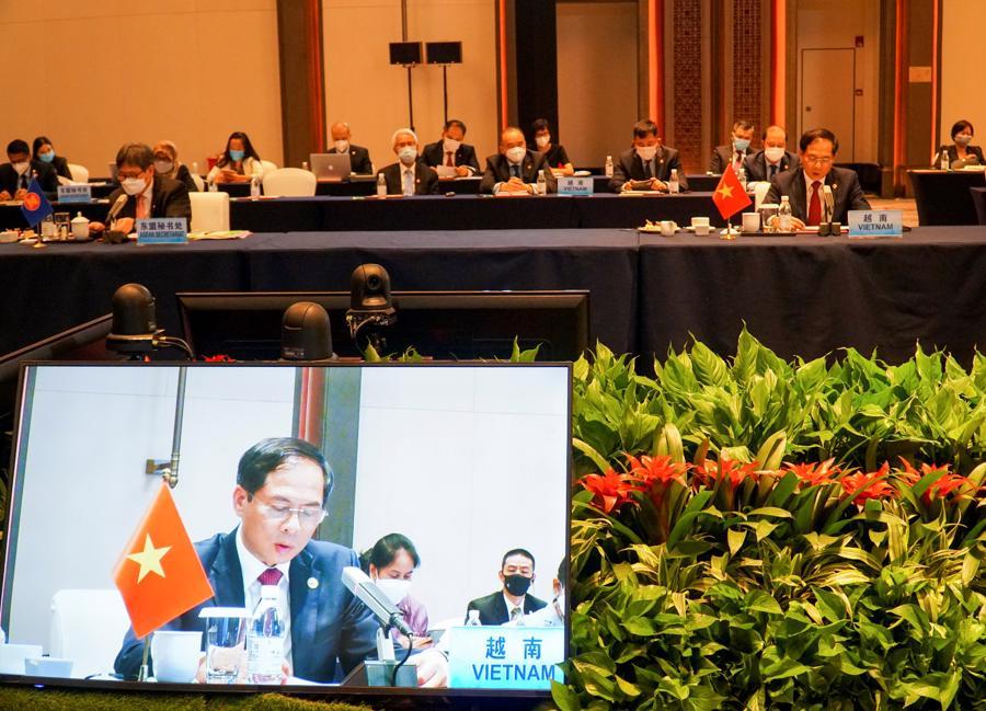 Đây là Hội nghị trực tiếp đầu tiên ở cấp Bộ trưởng Ngoại giao được ASEAN tổ chức sau khi dịch bệnh Covid-19 bùng phát - Ảnh: Bộ Ngoại giao