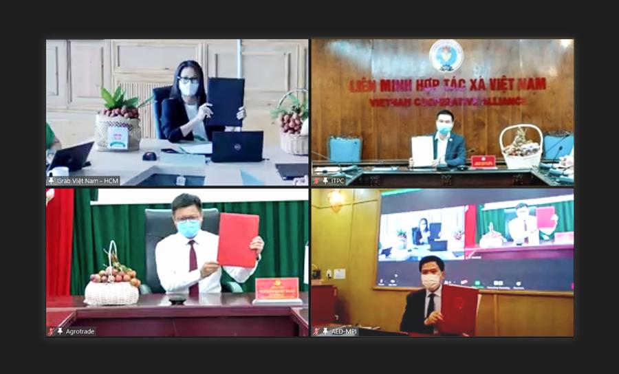 Lễ ký kết trực tuyến giữa AED, Agrotrade, ITPC-VCA và Grab Việt Nam