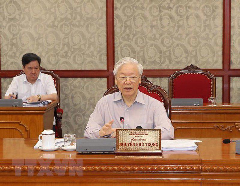 Tổng Bí thư Nguyễn Phú Trọng phát biểu tại cuộc họp - Ảnh: TTXVN