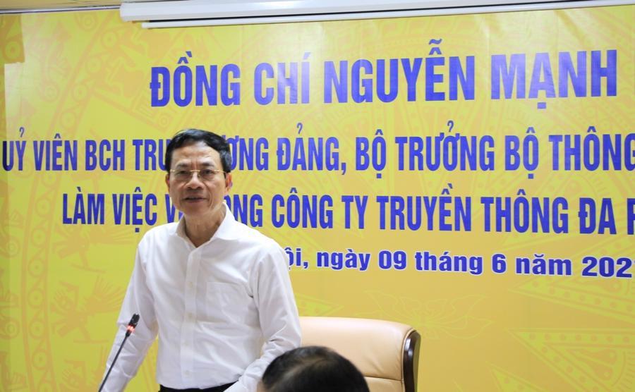 """Bộ trưởng Nguyễn Mạnh Hùng: """"VTC đang ở giai đoạn khó khăn. Những lúc khó khăn này thì tốt nhất là tìm về gốc nhà mình để từ đấy mà đi tiếp""""."""