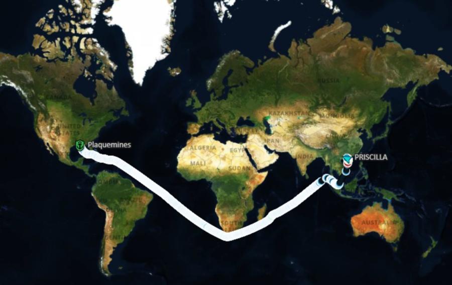 Hành trình từ Mỹ về cảng Trạng Giang ở Quảng Đông, Trung Quốc của tàu Priscilla chở 71.400 tấn ngô - Nguồn: Bloomberg.